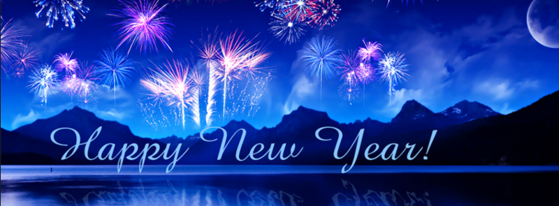 Happy New Year banner with fireworks.