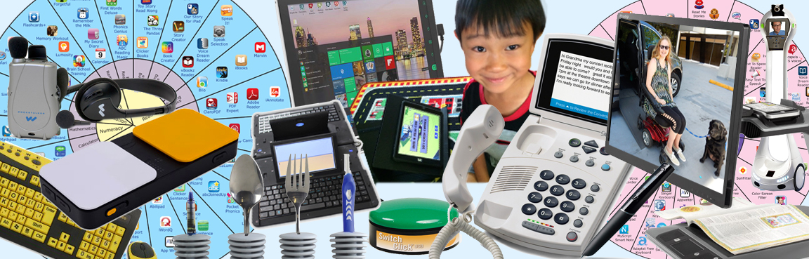 Photo of many Assistive Technology devices.