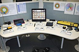 Photo of various AT devices on table.
